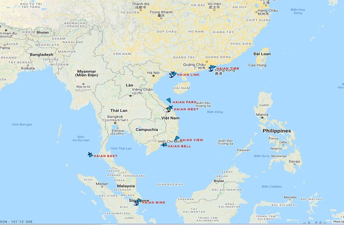 Vị trí các tàu của HAH lúc 09.45h ngày 10 tháng 7 năm 2021